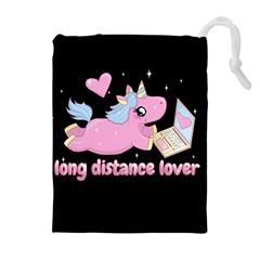 Long Distance Lover   Cute Unicorn Drawstring Pouches (extra Large) by Valentinaart