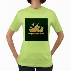 Long Distance Lover   Cute Unicorn Women s Green T Shirt