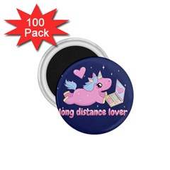 Long Distance Lover   Cute Unicorn 1 75  Magnets (100 Pack)  by Valentinaart