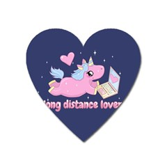 Long Distance Lover   Cute Unicorn Heart Magnet by Valentinaart