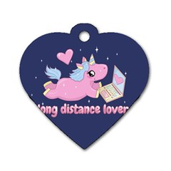 Long Distance Lover   Cute Unicorn Dog Tag Heart (one Side) by Valentinaart
