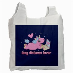 Long Distance Lover   Cute Unicorn Recycle Bag (one Side) by Valentinaart