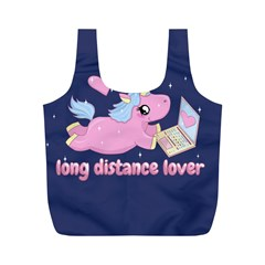 Long Distance Lover   Cute Unicorn Full Print Recycle Bags (m)