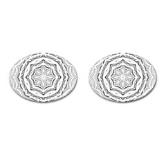 Mandala Pattern Floral Cufflinks (oval) by Sapixe