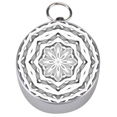 Mandala Pattern Floral Silver Compasses by Sapixe