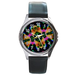 Butterfly Color Pop Art Round Metal Watch
