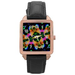 Butterfly Color Pop Art Rose Gold Leather Watch  by Sapixe