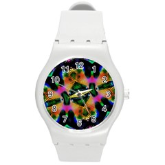 Butterfly Color Pop Art Round Plastic Sport Watch (m) by Sapixe