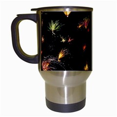 Fireworks Christmas Night Dark Travel Mugs (white)