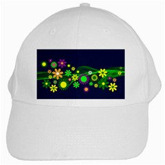 Flower Power Flowers Ornament White Cap by Sapixe