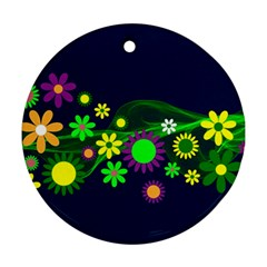 Flower Power Flowers Ornament Ornament (round) by Sapixe