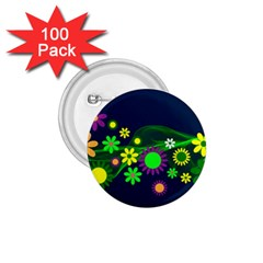 Flower Power Flowers Ornament 1 75  Buttons (100 Pack)