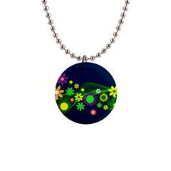 Flower Power Flowers Ornament Button Necklaces by Sapixe
