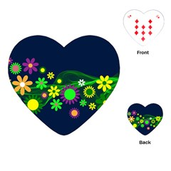 Flower Power Flowers Ornament Playing Cards (heart)  by Sapixe