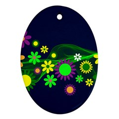 Flower Power Flowers Ornament Oval Ornament (two Sides)