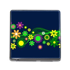 Flower Power Flowers Ornament Memory Card Reader (square) by Sapixe
