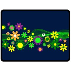 Flower Power Flowers Ornament Double Sided Fleece Blanket (large)  by Sapixe