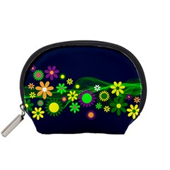 Flower Power Flowers Ornament Accessory Pouches (small)  by Sapixe