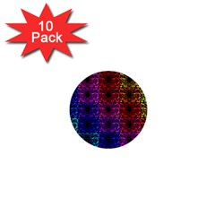 Rainbow Grid Form Abstract 1  Mini Buttons (10 Pack)
