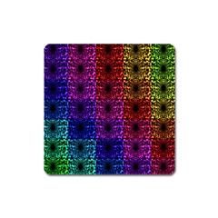Rainbow Grid Form Abstract Square Magnet