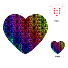 Rainbow Grid Form Abstract Playing Cards (heart)