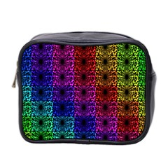 Rainbow Grid Form Abstract Mini Toiletries Bag 2 Side by Sapixe