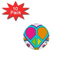 Love Peace Feelings Nature 1  Mini Buttons (10 Pack)