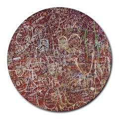 Metal Article Figure Old Red Wall Round Mousepads by Sapixe