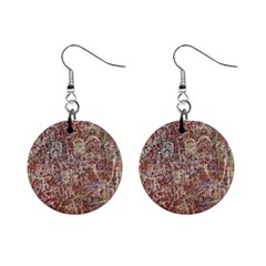 Metal Article Figure Old Red Wall Mini Button Earrings by Sapixe