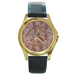 Metal Article Figure Old Red Wall Round Gold Metal Watch