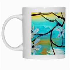 Oil Painting Tree Flower White Mugs