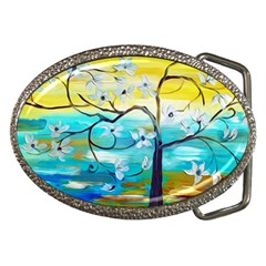 Oil Painting Tree Flower Belt Buckles by Sapixe