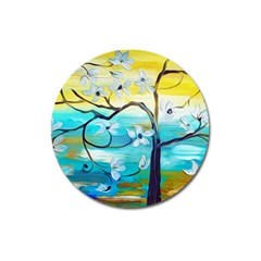 Oil Painting Tree Flower Magnet 3  (round) by Sapixe
