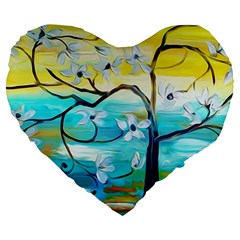 Oil Painting Tree Flower Large 19  Premium Heart Shape Cushions