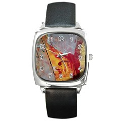 Painting Macro Color Oil Paint Square Metal Watch by Sapixe