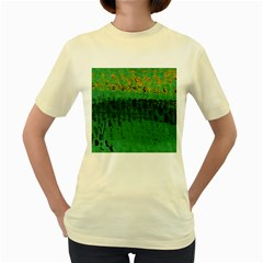 Green Fabric Textile Macro Detail Women s Yellow T-shirt by Sapixe