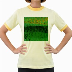 Green Fabric Textile Macro Detail Women s Fitted Ringer T Shirts by Sapixe