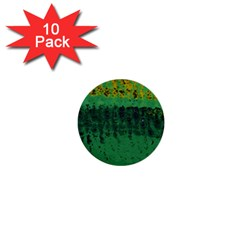 Green Fabric Textile Macro Detail 1  Mini Buttons (10 Pack)