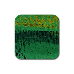 Green Fabric Textile Macro Detail Rubber Coaster (square)  by Sapixe