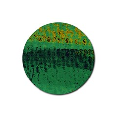 Green Fabric Textile Macro Detail Rubber Coaster (round)  by Sapixe