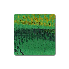 Green Fabric Textile Macro Detail Square Magnet by Sapixe