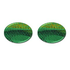 Green Fabric Textile Macro Detail Cufflinks (oval) by Sapixe