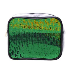 Green Fabric Textile Macro Detail Mini Toiletries Bags