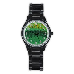Green Fabric Textile Macro Detail Stainless Steel Round Watch