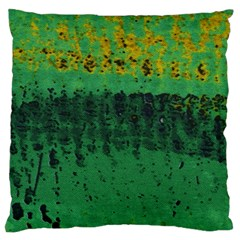 Green Fabric Textile Macro Detail Large Flano Cushion Case (one Side) by Sapixe