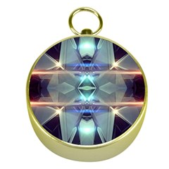 Abstract Glow Kaleidoscopic Light Gold Compasses