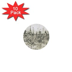 Pencil Drawing Drawing Port 1  Mini Buttons (10 Pack)