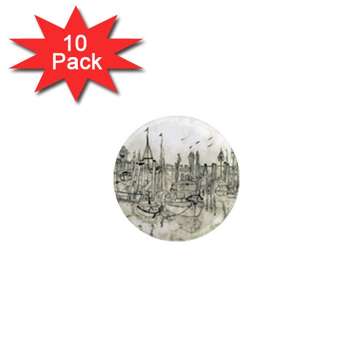 Pencil Drawing Drawing Port 1  Mini Magnet (10 pack)