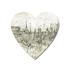 Pencil Drawing Drawing Port Heart Magnet by Sapixe