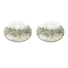 Pencil Drawing Drawing Port Cufflinks (oval) by Sapixe
